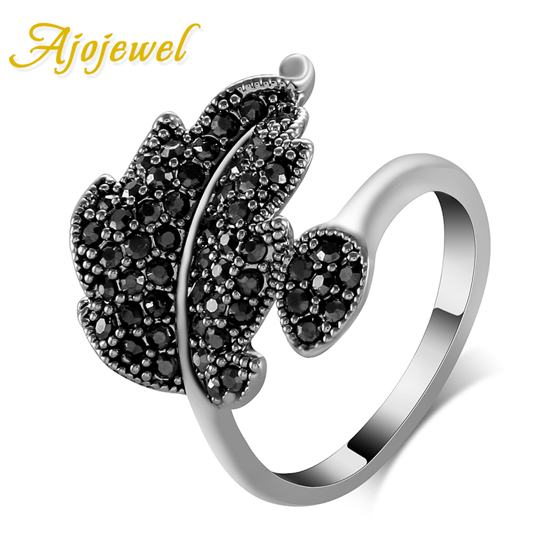 Ajojewel White Gold Plated Ladies Jewelry Fashion Pave Black Rhinestones Leaf Ring Vintage(China (Mainland))