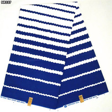 Blue and white stripe Nigerian veritable real wax printed fabric high quality 2017 African hot Ankara wax fabric for sewingNR337(China (Mainland))