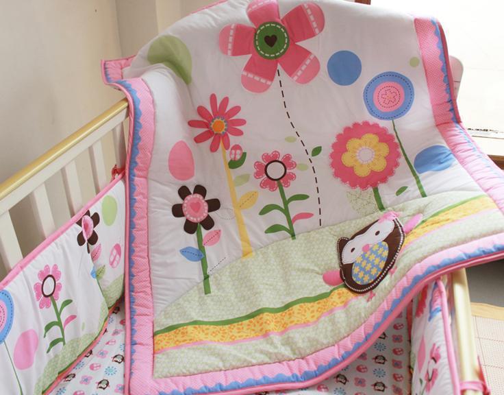 Carter  Cot Bumper Embroidered Cartoon Cute Owl Flower bedding sets Cotton  bumper( Quilt+Bumper+Bed Cover)<br><br>Aliexpress