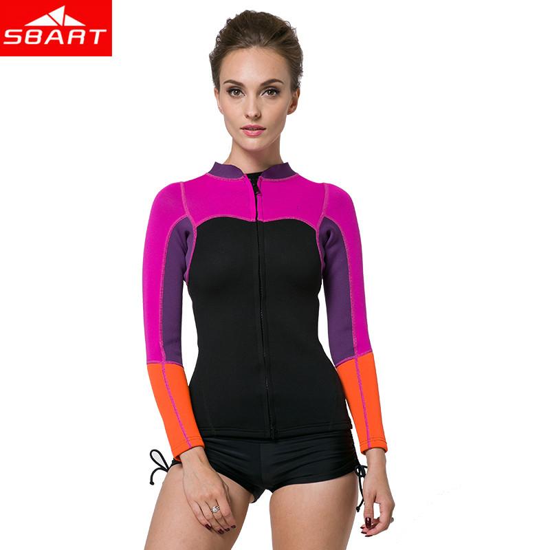 SBART New 2016 Neoprene Wetsuit Shirt 2MM Women Swim Shirt Long Sleeve Womens Kite board Surfing Wetsuits Neoprene Top O940(China (Mainland))