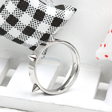 2015 new Korean hip-hop punk style rivets stainless steel ring men titanium steel rings personalized jewelry selling