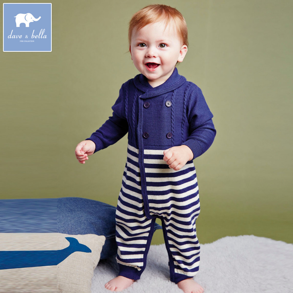 Brand 10%Wool2015long-sleeve Navy Style baby boy clothes infant baby boy ronmper jumpsuit knitted wear collar striped one-pieces(China (Mainland))