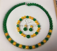 Fashion style free shipping wholesale jewelry 8MM Golden Akoya Cultured Pearl/Green Jade Necklace Bracelet Earrings Set  W0221(China (Mainland))