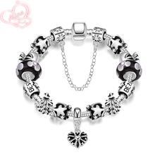 Wholesale Silver Plated Flower Heart Charm Bracelet for Women With Exquisite Glass Bead Safety Clasp Mother's Day Gifts H004-A(China (Mainland))