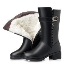 AIYUQI kadın kar botları 2019 hakiki deri kadın kışlık botlar avustralya kalın yün büyük boyutu 35-43 kadın Martin bot ayakkabı(China)