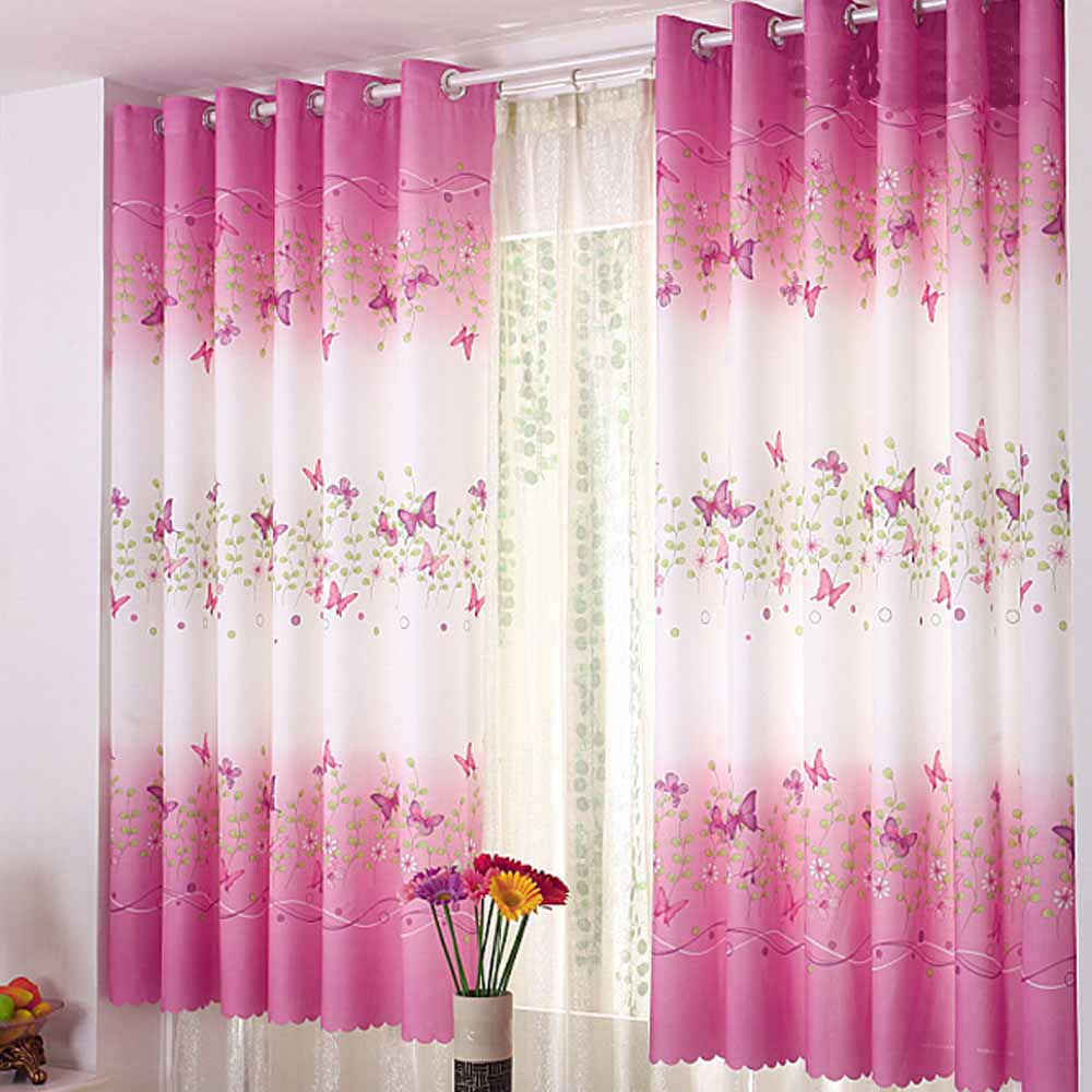 Butterfly Short Window Curtains For Living Room Curtains For Bedroom 1 40 Blackout Rate