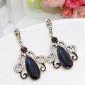 Luxury Turkey Jewelry Vintage Look Ruby Earrings For Women Gold Plated Resin Water Drop Pendant Earring