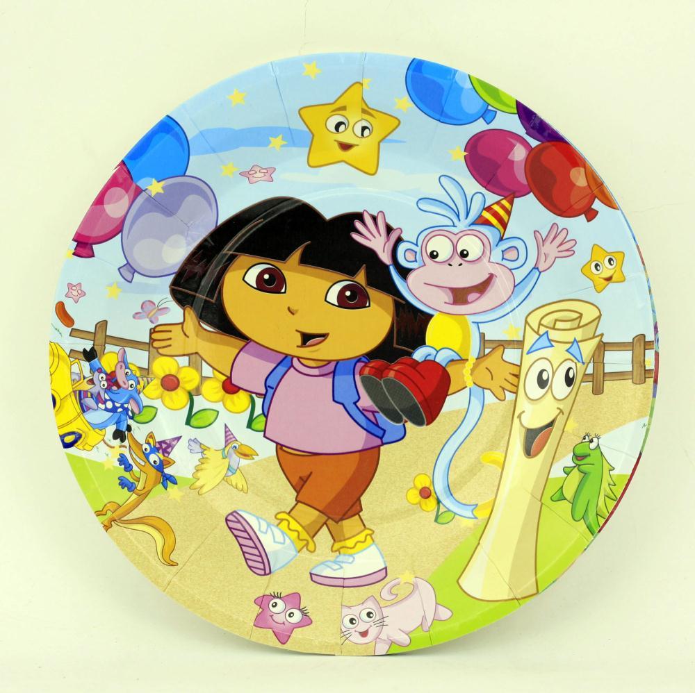 6pcs Lot 7 Dora Paper Plate 2014 New Hot Kids Birthday Party Decoration Dora Party Supplies