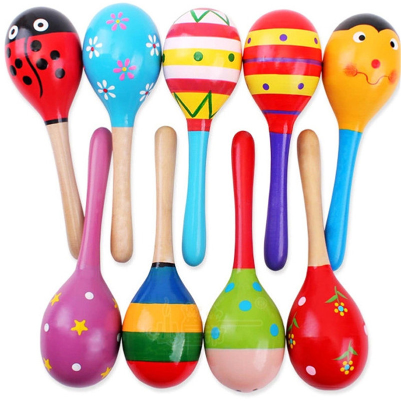 1 pcs Kids Wooden Ball Rattle Toy Sand Hammer Rattle Educational Learning Musical Instrument Percussion For Baby 0-12 Month Hot(China (Mainland))