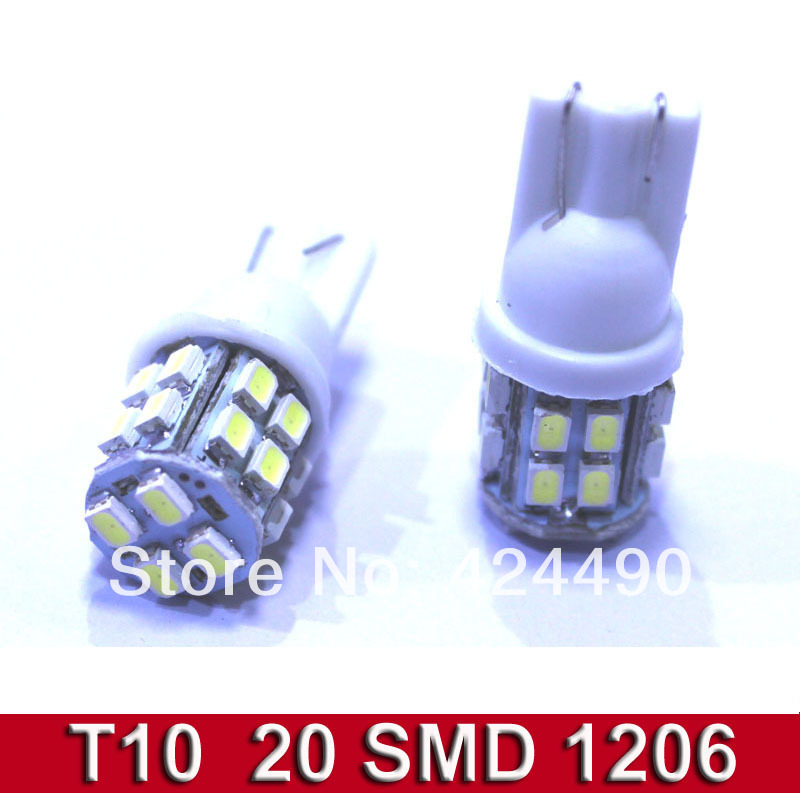 100X Car Auto LED lights T10 194 W5W 20 led smd 1206 Wedge LED Light Bulb Lamp T10 20SMD White <br><br>Aliexpress