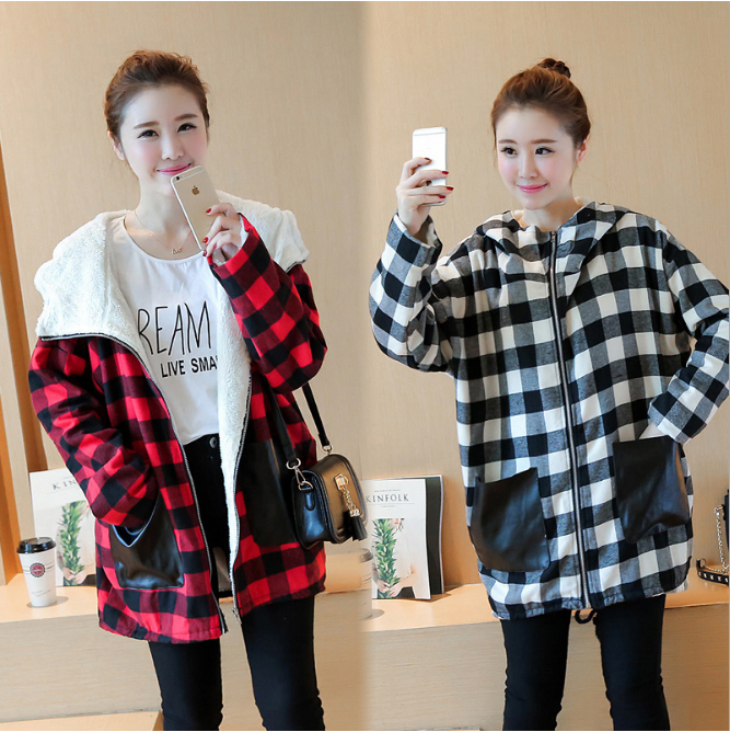 Maternity Winter Coat Long Loose Hooded Plaid Thicken Cotton Fleece Coat for Pregnant Women Big Size Pregnancy Outerwear Jackets