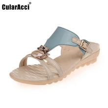 Buy Ladies Flats Sandals Rhinestone Flip Flop Slipper Open Toe Sandal Buckle Summer Shoe Women Beach Vacation Footwear Size 35-40 for $13.86 in AliExpress store