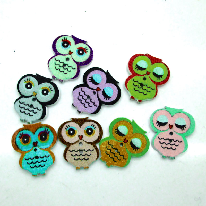 50Pcs Multicolor Lovely Owl Botones Knopf 2 Holes DIY Printing Wooden Buttons Sewing Scrapbooking Accessories 21*18mm(China (Mainland))