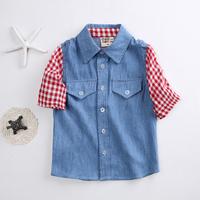Boys Shirts Kids Camisa Denim Shirt Plaid Blouse Summer Style Fashion Casual Style Baby Children Clothes