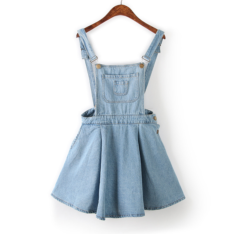 Elegant Wave Jeans Dresses For Women Fashion Style Fitted Strap Denim Dresses