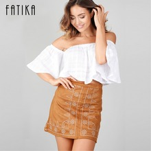 Buy FATIKA 2017 Spring Autumn Women Embroidery Suede Leather Pencil Skirt High Waist Skirt England Style Mini Skirt for $11.54 in AliExpress store