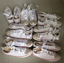 New 2015 classic canvas white Lace-Up low to help flat women/men shoes fashion style DIY diamond sparkle (China (Mainland))