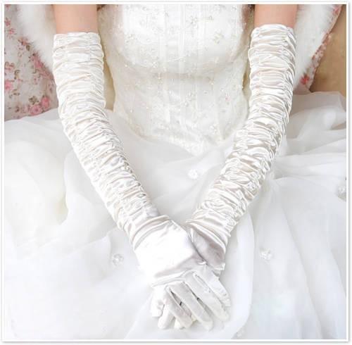 Длинные полный белое свадебное перчатки атласные складки перчатки свадебное платье ...