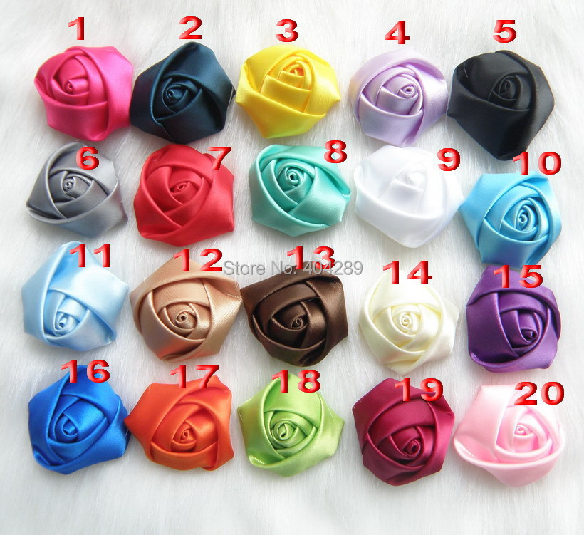 20pcs/lot Trial Order classical chic mini satin rose flowers Flat Back Girls Flower Headbands Accessories free shipping(China (Mainland))