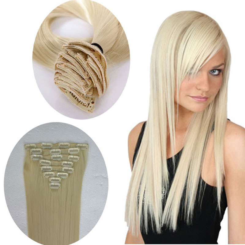 100% Real Thick Full Head Clip in Hair Extensions Extentions Long Straight Bleach Blonde for human made hairpieces(China (Mainland))