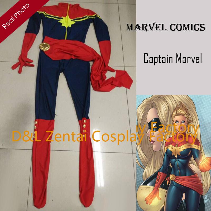 Free Shipping DHL Ms Marvel Costume Captain Marvel Karla Sofen Costume Navy & Red Lycra Super Hero Halloween Costume XM1726(China (Mainland))