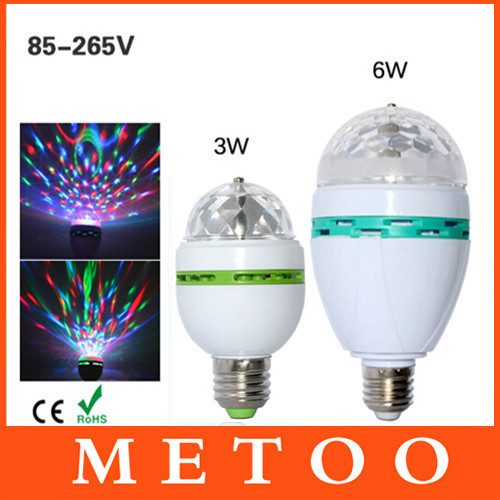 Full Color 3W 6W RGB Led Lamps E27 Lampada Led Bulb AC 85-265V 110V 220V Auto Rotating Stage Lights Projector For DJ Party Show(China (Mainland))