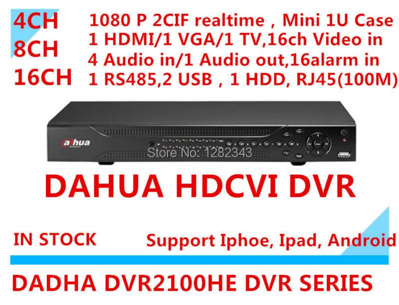dahua dvr 4ch 8ch 16 CH d1 mini 1u 1sata up to 4TB dahua dvr hdmi VGA output 4 Audio in 1 Audio out p2p standalone DVR 2100HE(China (Mainland))