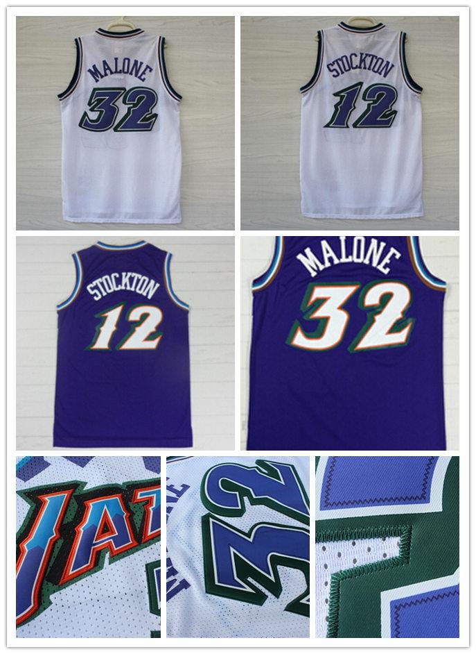 free shipping Utah #12 John Stockton purple Jersey #32 Karl Malone Jersey cheap authentic Snow mountains Basketball Jersey 2012(China (Mainland))