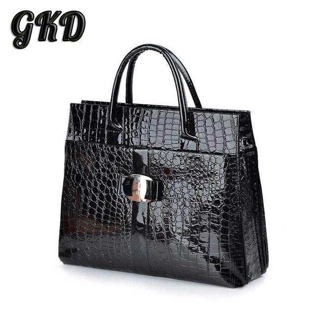 2016 Hot selling Luxury Office Lady Women Crocodile Pattern Handbag Tote Bag Popular Women Leather Bag B272