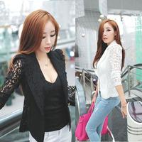 Мода 2015 новейших верхняя одежда женщин сексуальная длинный рукав кружева крючком небольших пальто blusas feminino куртка черная