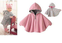 100 New 2016 Fleece Combi Baby Coat Babe Cloak Two sided Outwear Floral Baby Poncho Cape