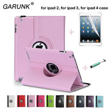for Apple ipad 2 ipad 3 ipad 4 9.7 Tablet Case 360 Rotating Leather Stand Screen Protector Film+Stylus Pen Cover for ipad 2 3 4(China (Mainland))