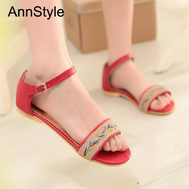 Women Summer sweet flats Sandals 2016 Bohemia Sandals Buckle Strap Shoes Woman Casual Flats Flip Flops big size 34-43<br><br>Aliexpress