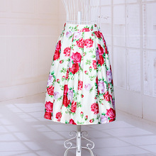 Temperament Floral Printed Summer style New Women's Midi Tutu Skirts Elastic High Waist A-Line Solid 2 Shining Color Satin Skirt