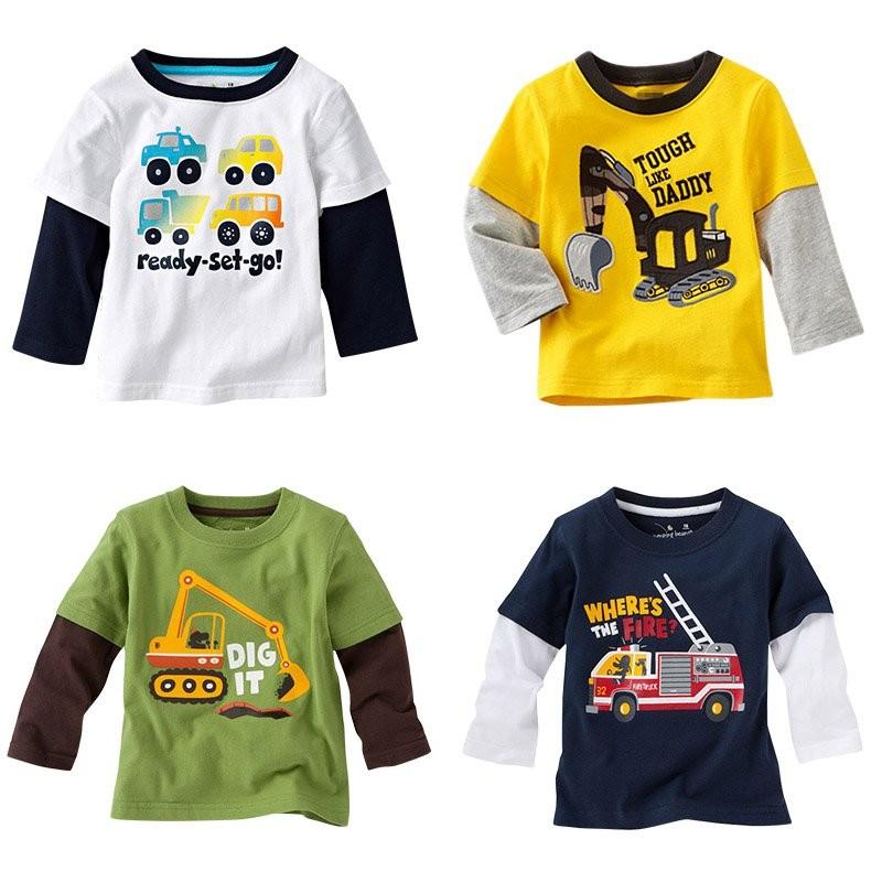 Boys T-shirt Kids Tees Baby Tshirts Children Blouses Long Sleeve 100% Cotton Cars Trucks Stripes
