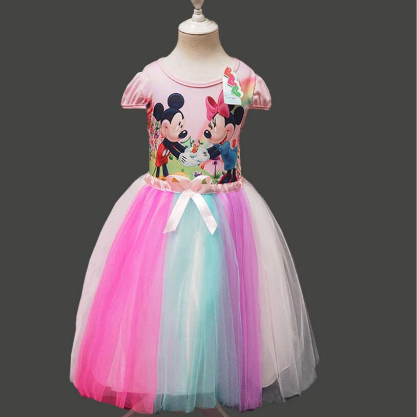 Summer Girls Dress Tutu Princess Baby Mickey Minnie Mouse Dress Cotton Baby Casual Party Dress for 2-7 Years Kid Dresses(China (Mainland))