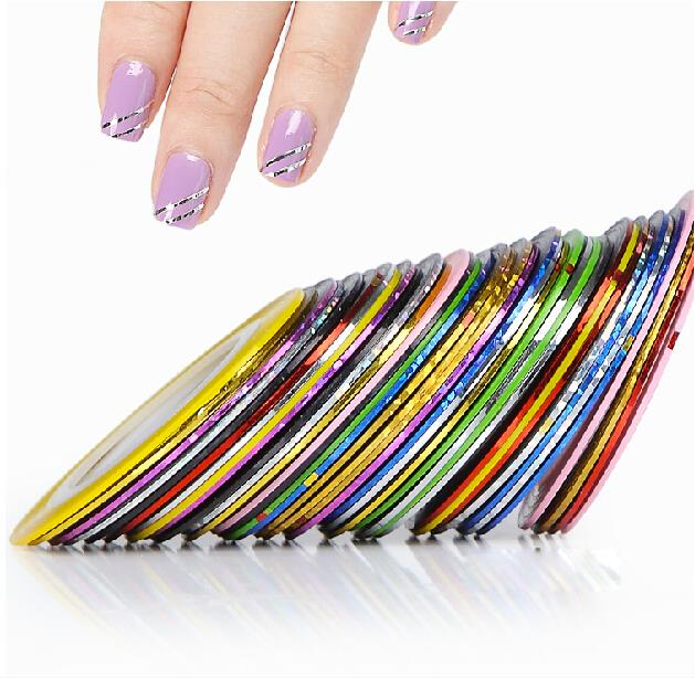 31Pcs Mixed Colorful Beauty Rolls Striping Decals Foil Tips Tape Line DIY Design Nail Art Stickers Tools Decorations #8802(China (Mainland))