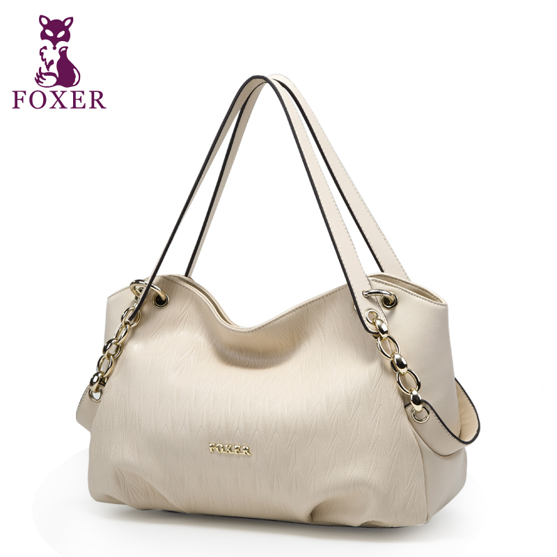 Фотография FOXER women handbag brand genuine leather tote 2016 women leather handbags designers wristlets bag fashion evening shoulder bags