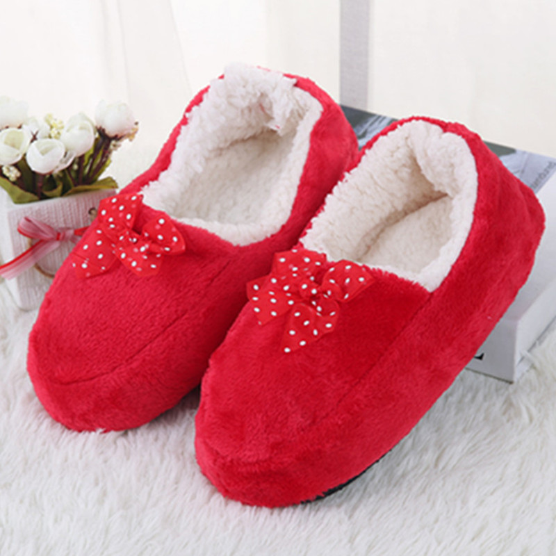 Exclusive Cheap Wholesale New Women s Bow Cotton Slippers Warm Plush Indoor Shoes Non slip Soft