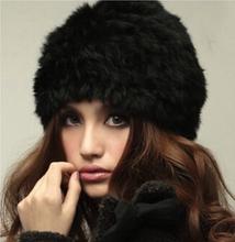 Пушистый женщины россии казачий кролика трикотажные Hat начальник лыж кап зима теплая мех женский головные уборы головной убор девушки дамы