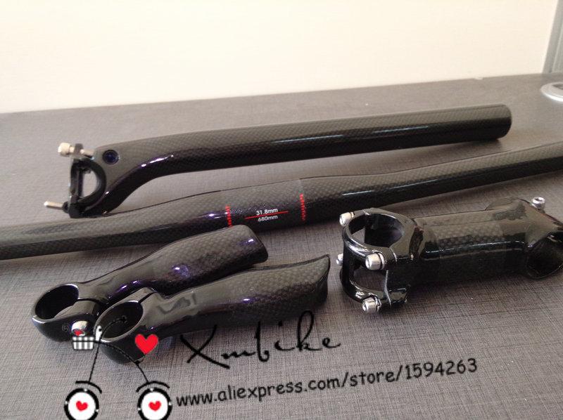 Fast shipping! MTB bike bicycle carbon fibre handlebar+ seatpost+ Stem +bar ends=1 lot 27.2/31.6*350mm<br><br>Aliexpress