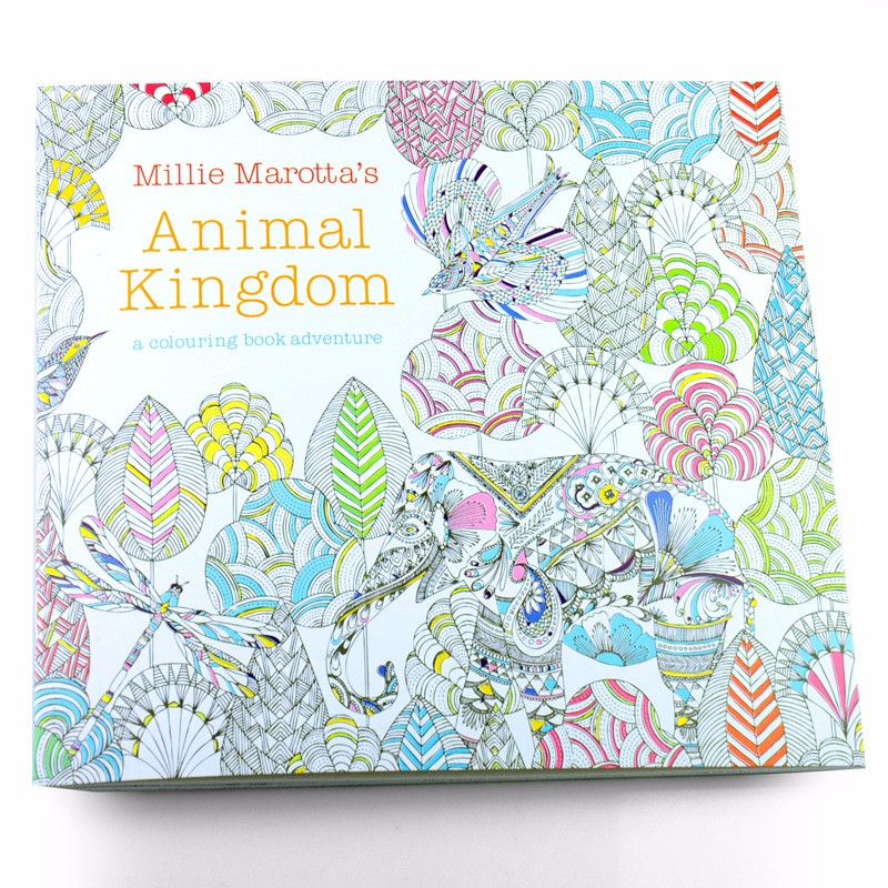 24 Pages Animal Kingdom Kill Time Colouring Books Relieve Stress For Children Adult Painting Drawing Book(China (Mainland))