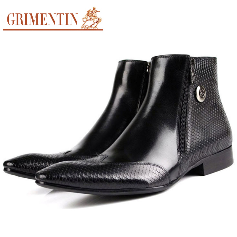 New 2015 luxury designer autumn men ankle boots genuine leather pointed toe black brown zip snake skin dress botas size38-44 bo8(China (Mainland))