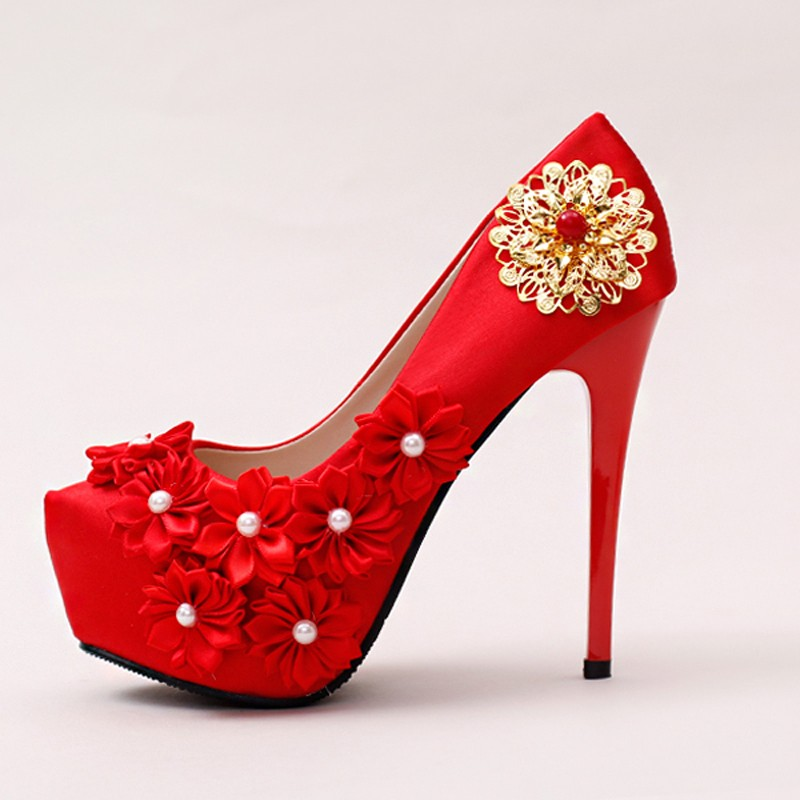Comfortable Satin Wedding Shoes Stilettos Bridal Dress Shoes Red Color Formal Dress Shoes Mother of The Bride Shoes Women Pumps