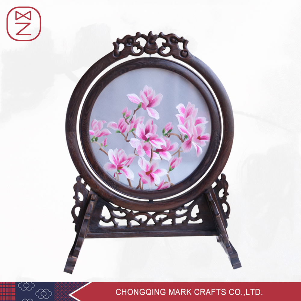Chinese Beautiful Home Decorative Silk Embroidery Painting with Pink Floral Design(China (Mainland))