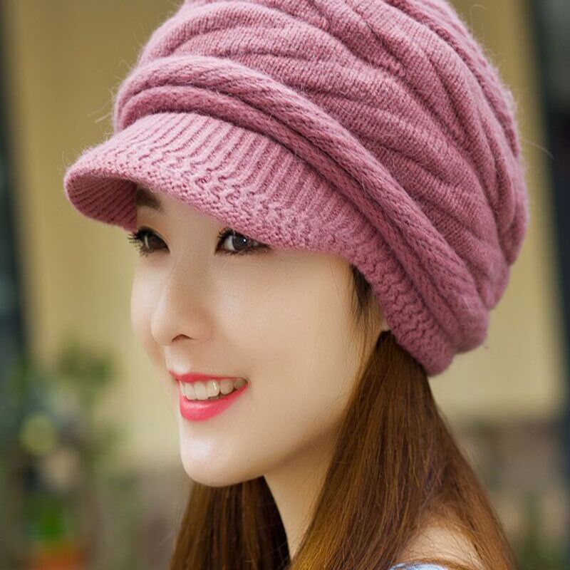 E-10 2015 new Winter Hat For Women 6 Pure color Angora Hats Women Knitted Beret Winter Hat(China (Mainland))