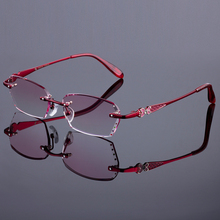 Best Red Phantom Women Rimless Frame Titanium Alloy Optical Frame Diamond Trimming Cut Rimless Glasses With Gradient Tint Lenses