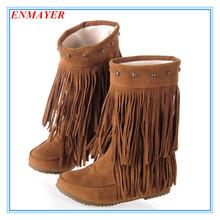ENMAYER 2015 de la Mujer 3 Layer Fringe Borlas Del Talón Plano Botas de Punta Redonda Mitad de la Pantorrilla botas de nieve Zapatos grandes Size34-43 botas de invierno(China (Mainland))