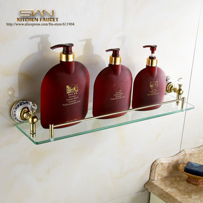 Luxo atacado latão prateleira do banheiro Accessoires Make Up de vidro shelives ouro Polor banhado a(China (Mainland))