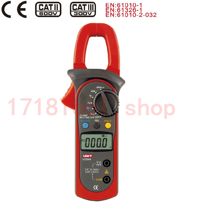 UNI T UT204A digital clamp multimeters auto range temperature AC DC current clamp meter uni t